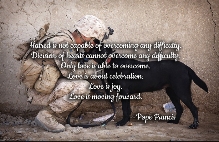 Hatred is not capable of overcoming difficulty. Only Love. Pope Francis.